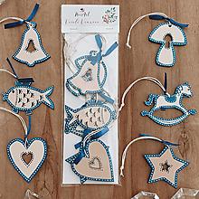 Dekorácie - Sada drevených ozdôb - Folk modrá - 12643417_