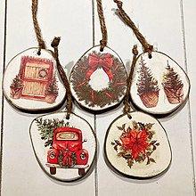 Dekorácie - Ozdoby na vianočný stromček - drevený plát / mix - 12646649_