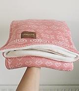 """Textil - Pletená deka, ,,Čičmany"""", OEKO-TEX® - pudrovo ružová/smotanová - 12645699_"""