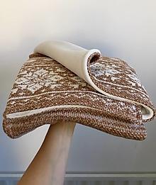 """Textil - Detská deka, """"Nórsky vzor"""", OEKO-TEX®, Hnedý melír/smotanová podšívka - 12645978_"""