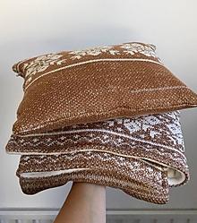 """Textil - Zimná deka a vankúšik, OEKO-TEX®, """"Nórsky vzor"""" - Hnedý melír / smotanová - 12646006_"""