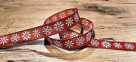 Galantéria - Ozdobná stuha 25 mm - S drôtom - Vločka  (Červená) - 12643651_