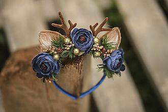 Ozdoby do vlasov - Vianočná kvetinová čelenka sobík modro-zlatý - 12648623_