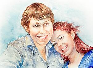 Obrazy - Akvarelový obraz na želanie - Rodinný portrét - 12648618_