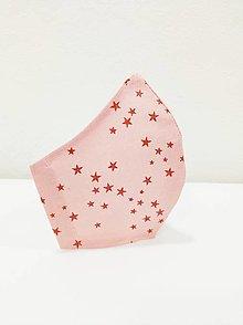 Rúška - Dizajnové rúško vianočné hviezdičky ružová, dámske a detské - 12647289_