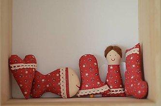 Dekorácie - Vianočné ozdoby Sada červená malá - 12647097_