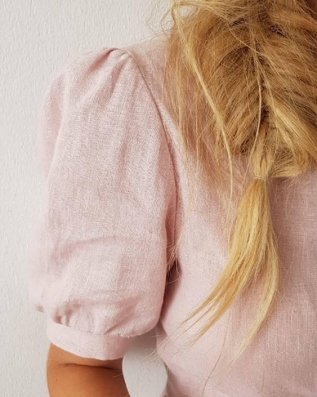 Zavinovacie ľanové šaty - Húska (malinová)