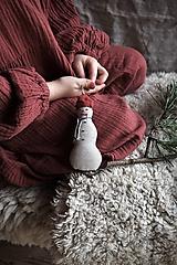 Dekorácie - Ľanový snehuliak - 12652078_