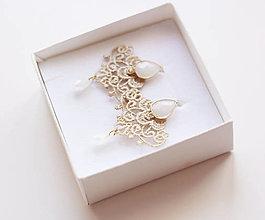 Náušnice - Náušnice s čipkou a perličkou. Champagne - 12654169_