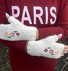 Rukavice - Bezprstové rukavičky. (Smotanová) - 12652239_