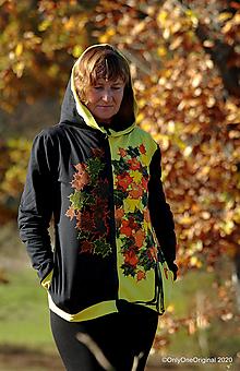 Mikiny - Dámska mikina s kapucou šitá, batikovaná, maľovaná SPOMALENIE - 12650014_