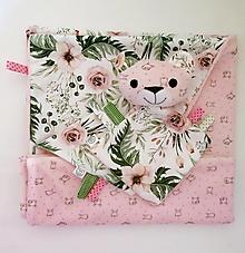 Textil - Detská deka - Ružová z Malej záhrady  (sada deka s mojkáčikom) - 12648895_