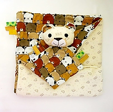 Textil - Detská deka - Smotanová z Medveďova  (sada deka s mojkáčikom) - 12648922_