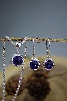 Sady šperkov - ametystové náušnice a prívesok v striebre - luxusný set - 12653347_