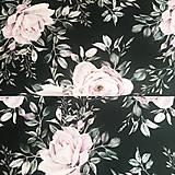 ruže na čiernom, extra kvalitný 100 % bavlnený perkál, šírka 150 cm