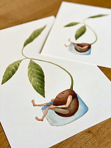 Grafika - Pán Avokádo a jeho osobný rast - Print | Botanická ilustrácia - 12653923_