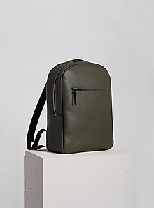 Batohy - Leather backpack Olive - 12649271_