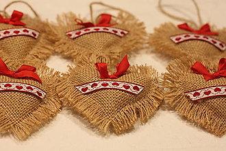 Dekorácie - Vintage červené vianočné ozdoby prírodné z juty - 12651074_