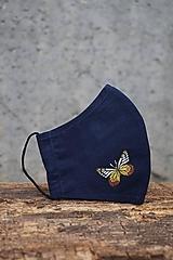 Rúška - Modré rúško s motýľom - 12653291_