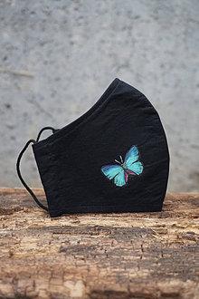 Rúška - Čierne rúško s motýľom (Motýľ tyrkysový) - 12653513_
