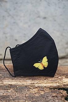 Rúška - Čierne rúško s motýľom (Motýľ žltý) - 12653538_