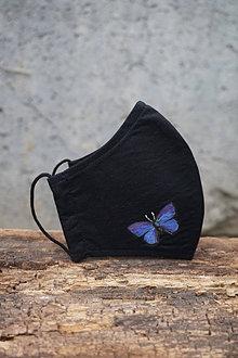 Rúška - Čierne rúško s motýľom (Motýľ fialový) - 12653555_