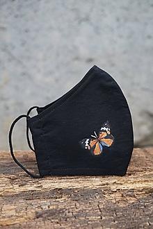 Rúška - Čierne rúško s motýľom (Motýľ oranžový) - 12653568_