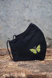 Rúška - Čierne rúško s motýľom (Motýľ zelený) - 12653597_