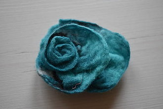 Brošne - plstená brošňa (10cm - Tyrkysová) - 12650350_