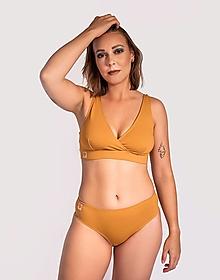Bielizeň/Plavky - Športová podprsenka z bio bavlny GOTS - okrová - 12654225_