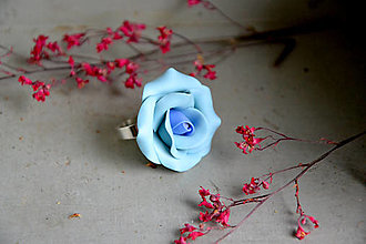 Prstene - Modrá ruža, prsteň, fimo - 12650065_