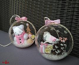 Dekorácie - Veľké vianočné gule v kombinácii ružová a biela - 2ks - 12651142_