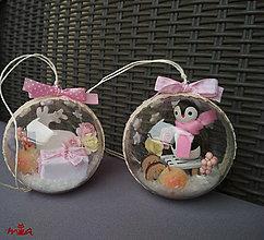 Dekorácie - Sada vianočných gúl - ružová + biela - 12651194_
