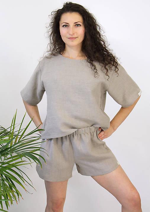 Nohavice - EVE nohavice z BIO ľanu krátke OEKO-TEX100 - 12649968_