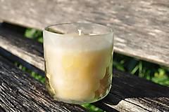 Dobrý obchod - Sviečka z včelieho vosku v brúsenom skle - číra - 12655154_