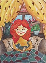 Obrazy - Dievča s mačkou - 12649222_