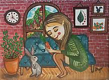 Obrazy - Dievča s králikom  - 12649272_