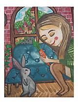 Obrazy - Dievča s králikom  - 12649273_