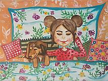 Obrazy - Dievča so psíkom 🐕 - 12649302_