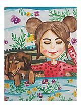 Obrazy - Dievča so psíkom 🐕 - 12649303_