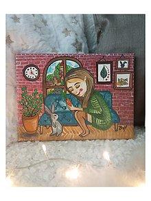 Obrazy - Dievča s králikom 🐇 - 12649274_