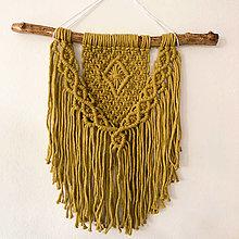 Dekorácie - Makramé závesná dekorácia v zeleno-žltej KIWI farbe - 12651186_