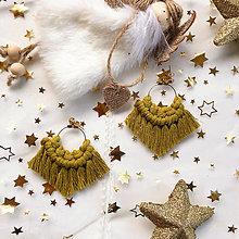 Náušnice - Makramé náušnice BOHYŇA Vianoc, svetlá zelená - 12651790_