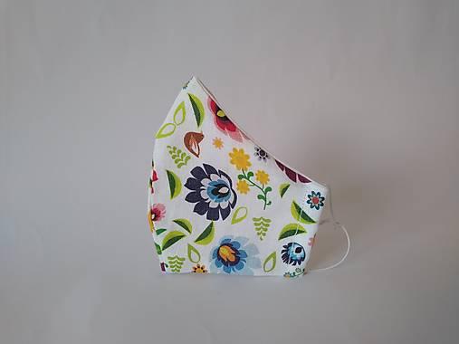 Dizajnové ľanové rúško folk. kvety biele