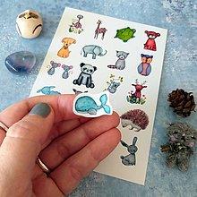 Papiernictvo - Akvarelové zvieratká_nálepková pohľadnica - 12659013_