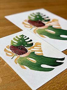 Grafika - Monstera love -  Print | Botanická ilustrácia (A4) - 12655925_