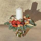 Dekorácie - Prírodný vianočný svietnik - 12660643_