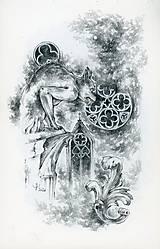 Kresby - Gotický chrlič na katedrále Art Print - 12661244_