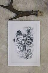 Kresby - Gotický chrlič na katedrále Art Print - 12661258_