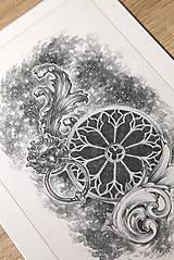 Kresby - Klopadlo z labyrintu gotickej katedrály Art Print - 12661305_